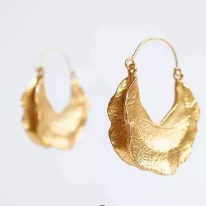 Zara Gold asymmetrical crescent hoop earring